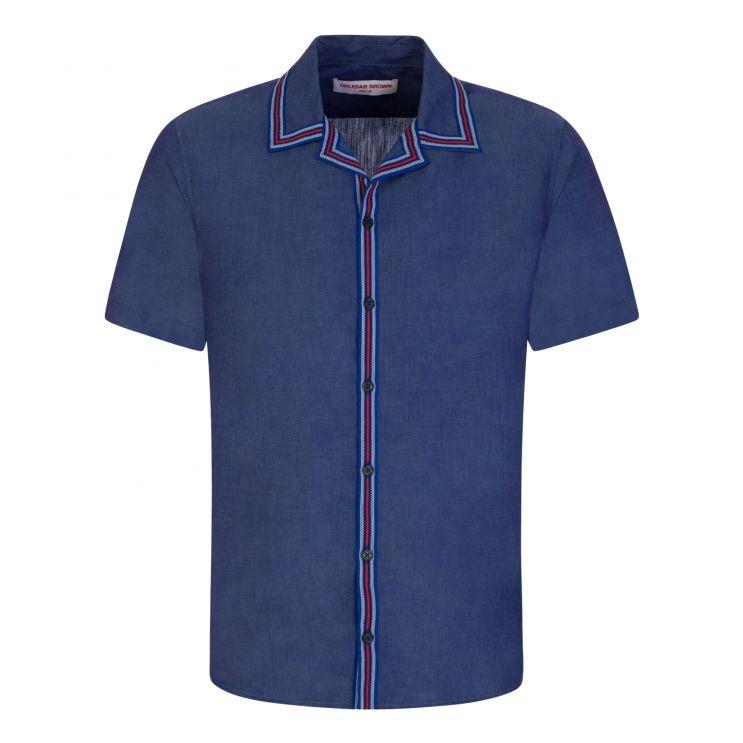 Orlebar Brown Navy Short-Sleeve Tape Stripe Resort Shirt