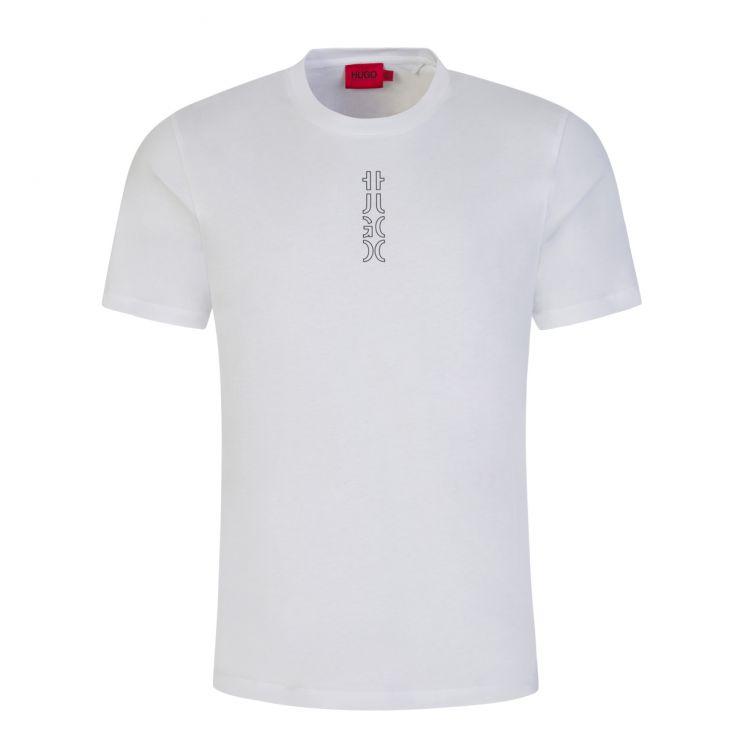 HUGO White Durned213 Cropped-Logo T-Shirt