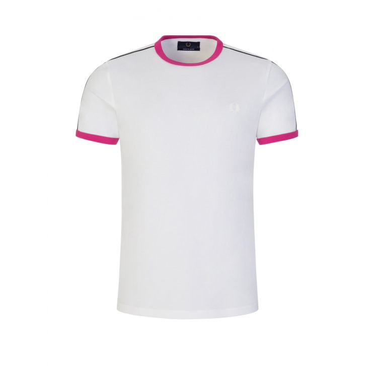Fred Perry White 'Made in Japan' Luminous Taped Ringer T-Shirt