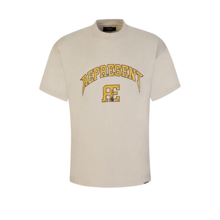 Represent Beige Varsity Logo T-Shirt