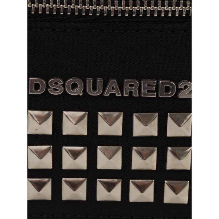 Dsquared2 Black Punk Spike-Studded Card Holder