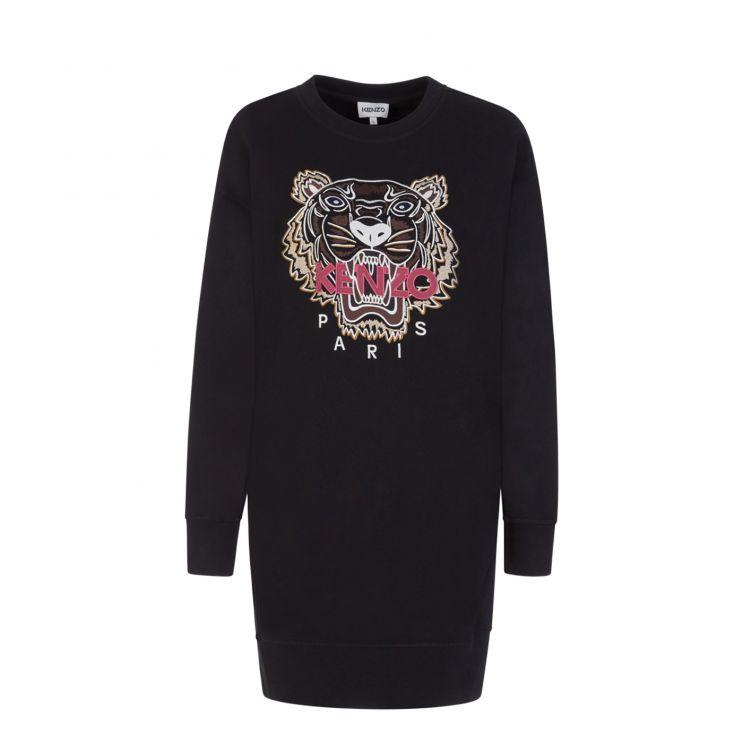KENZO Black Iconic Tiger Sweatshirt Dress