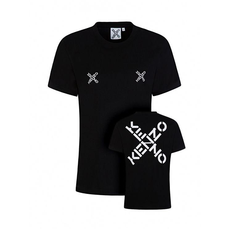 KENZO Black Loose-Fit Cross Logo T-Shirt