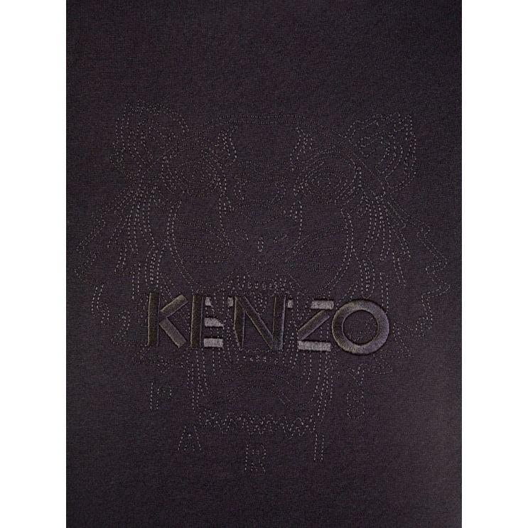 KENZO Black Loose-Fit Embossed Tiger T-Shirt