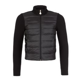 Black Quilted Knitted Cardigan Jacket