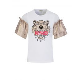 White/Gold Tiger Frill Sleeve T-Shirt