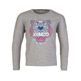 Grey Tiger Print Long Sleeve T-Shirt