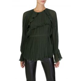 Green Pleated Blouse