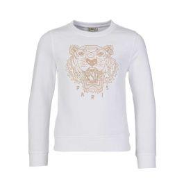 White Embroidered Tiger Sweatshirt