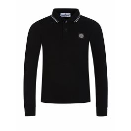 Junior Black Long Sleeve Polo Shirt