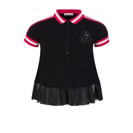 Black Frilled Polo Shirt