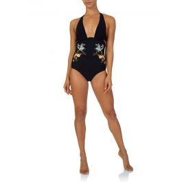 Navy Embroidery Swimsuit