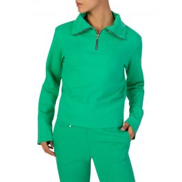 Green Milan Zipped Polo Sweatshirt