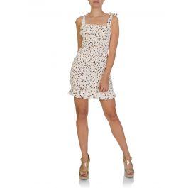 White Gaia Shirred Frill Mini Dress