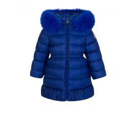 Blue Fur Hooded Puffer Coat
