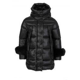 Black Brionnais Fur Cuff Jacket