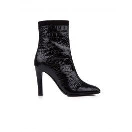 Black Alligator Print Ankle Boots