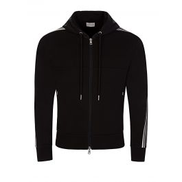 Black Sleeve Logo Hooded Zip-Through