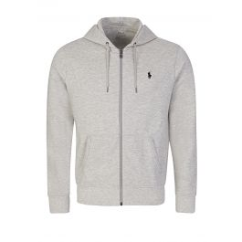 Grey Double-Knitted Hooded Zip-Through