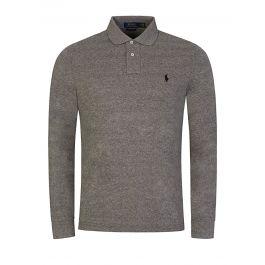 Grey Long-Sleeve Polo Shirt