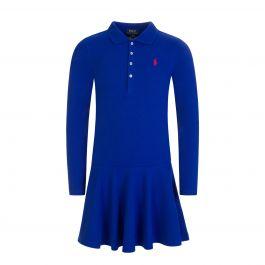 Kids Blue Long-Sleeve Polo Dress