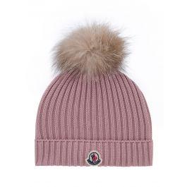 Pink Wool Bobble Hat
