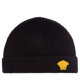 Black Junior Embroidered Medusa Logo Beanie Hat