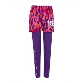 Pink/Purple Two-Piece Leopard Print Legging/Shorts Layering Set