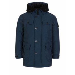 Junior Navy Genuine Down Hooded Coat