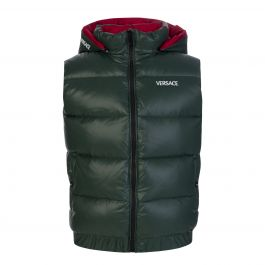 Green Embroidered Logo Down Hooded Gilet
