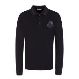 Black Long-Sleeve Logo Polo Shirt