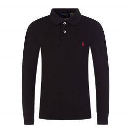 Kids Black Long-Sleeve Mesh Polo Shirt