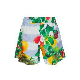Kids White Fruit Print Shorts
