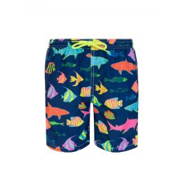 Junior Navy Southsea-Print Swim Shorts
