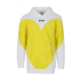 Kids White/Yellow Fleece & Lace Heart Hoodie
