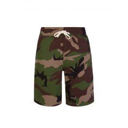 Kids Green Camo-Print Fleece Shorts