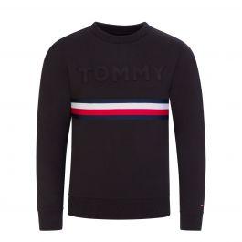 Kids Black Embossed Tonal Logo Sweatshirt