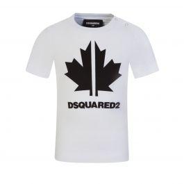 Kids White Toddler Leaf Logo T-Shirt