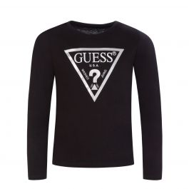 Kids Black Logo Long Sleeve T-Shirt