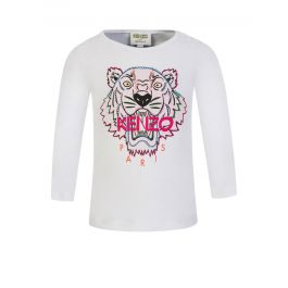 White Long-Sleeve Tiger T-Shirt
