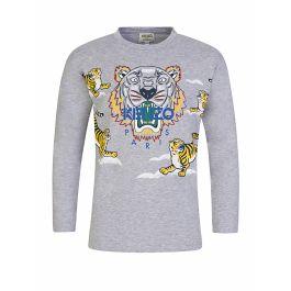 Grey Long-Sleeve Tiger Print T-Shirt