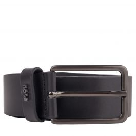 Black Smooth Leather Pin-Buckle Belt