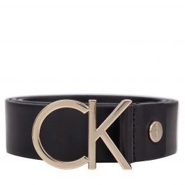Black/Gold Leather CK Buckle Belt
