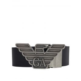 Black Leather Belt & Buckle Gift Set