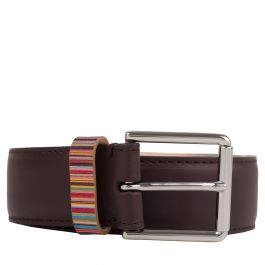 Paul Smith Brown 'Signature Stripe' Keeper Leather Belt