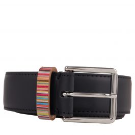 Paul Smith Black 'Signature Stripe' Keeper Leather Belt