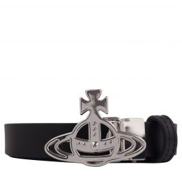 Black Small Line Orb Buckle Belt