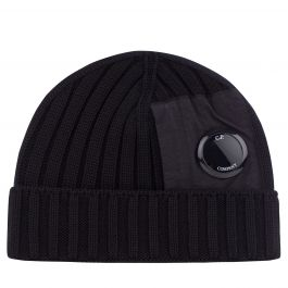 Black Merino Wool Utility Beanie