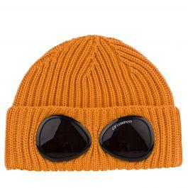 Orange Wool Goggle Beanie