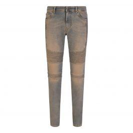Pale Blue Skinny-Fit Biker Denim Jeans